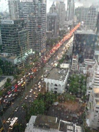 SO Sofitel Bangkok: View from the Club Lounge - rush hour traffic