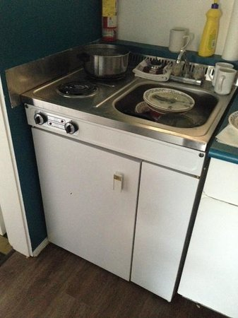 Hotel Zed: Stove and Fridge below
