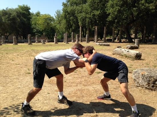 Archaeological Museum of Olympia: Sparring in the ancient wrestling training area