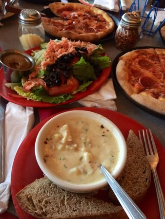 Mountain High Pizza Pie: Try Smoked salmon salad and clam chowder! Pizzas are great too!