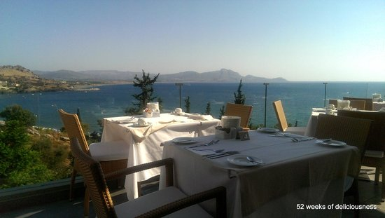 Lindos Mare Hotel: Breakfast and Dinner views