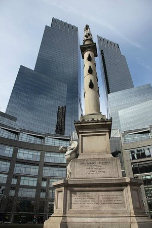 The Shops at Columbus Circle: The statue of Columbus with the Time Warner Center in the background