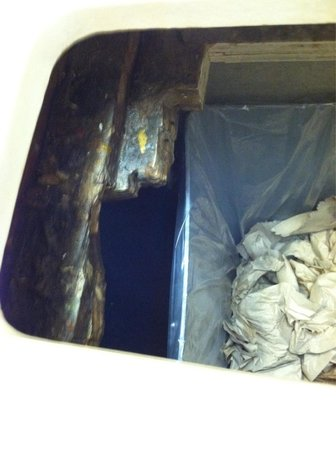 Old Country Buffet: Bathroom garbage! Yuck!