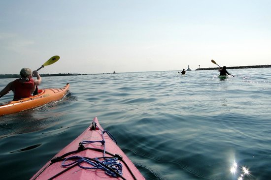 Great Turtle Kayak Tours: My favorite picture from that day... you can see the Round Island Lighthouse in the distance...