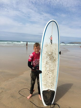Ticket to Ride Surf School: Jack ready for his first hardboard lesson