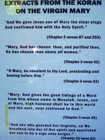 Meryemana (The Virgin Mary's House): Extracts from the Koran on Virgin Mary