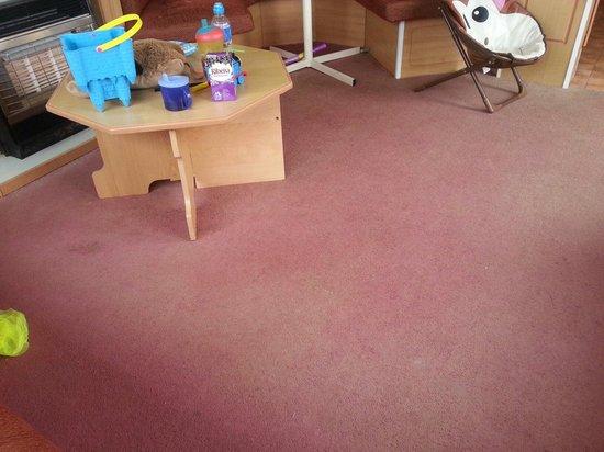Chy Carne Holiday Park: Sun bleached carpet in caravan 23