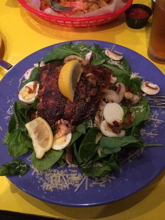 Hannah's: Spinach salad with blackened salmon.  Excellent with the warm bacon dressing it comes with.  $7.