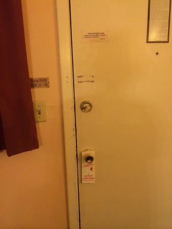 Hometown Inn: I guess you could put a chair under the door knob since the security bolt is missing.