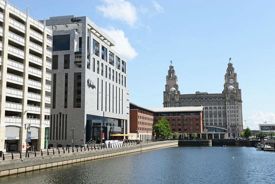 Malmaison Liverpool: hotel exterior with Liver building to the right