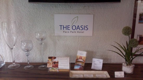 The Oasis Paco Park Hotel: Lobby info table