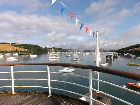 ICC-Egremont, Salcombe: View up the estuary, from the bow of the boat