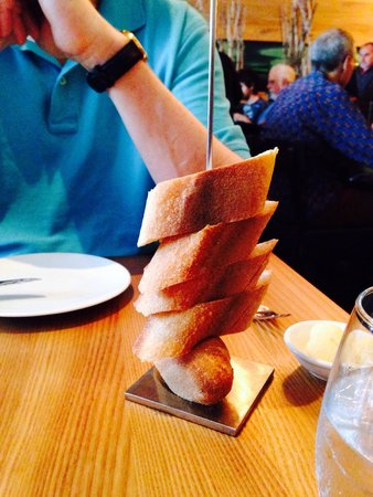 Chez Boulay-bistro boréal : Baguette served on a skewer, very space saving