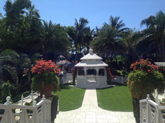 The Palms Hotel & Spa: walking out of the hotel onto the grounds