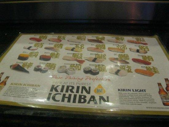 Red Bowl Asian Bistro: sushi menu