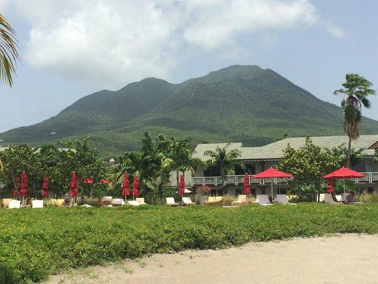 Four Seasons Resort Nevis, West Indies: View of Nevis Peak from beach