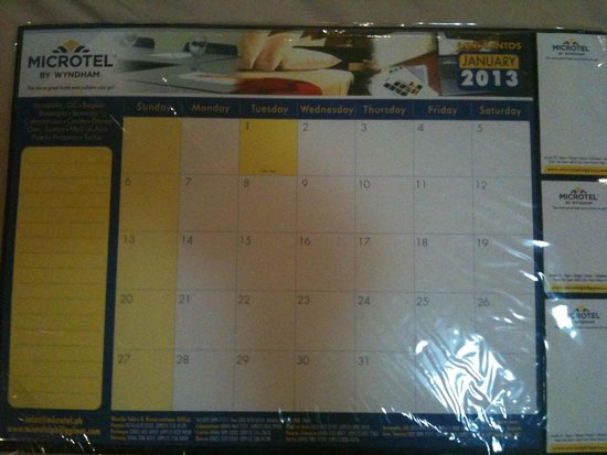 Microtel Inn & Suites by Wyndham Boracay: They gave us their hotel trash - outdated desk calendar.