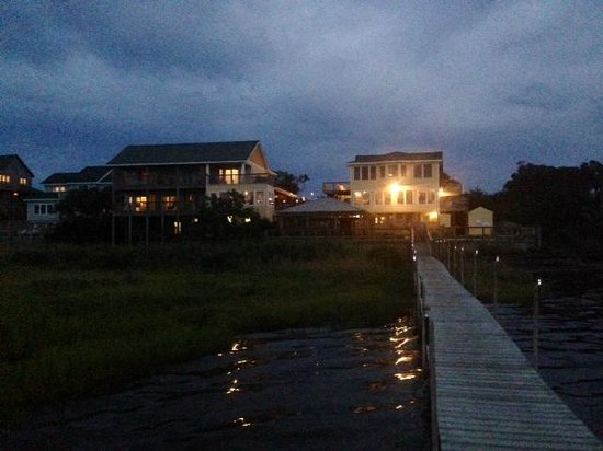 The Inn on Pamlico Sound: View from the dock, looking back at the Inn