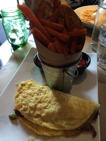 Bar Bacon: Omelet with sweet potato fries.