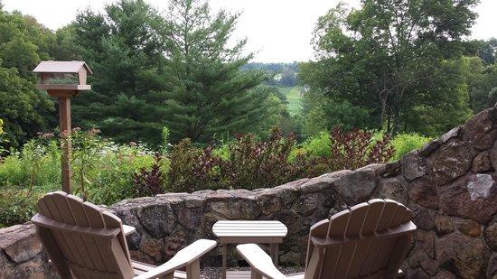 The Inn at Honey Run: view from the honeycomb balcony
