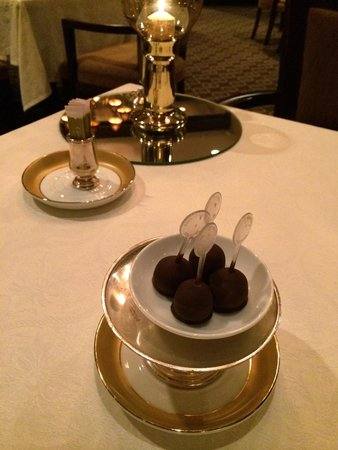 The London Grill: Complementary chocolate covered  ice cream balls. Very good