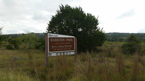 Hamilton Pool Preserve: Entry sign.