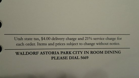 Waldorf Astoria Park City : Crazy delivery charge