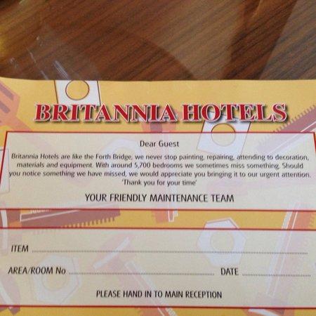 Britannia Sachas Hotel: This made me laugh  room 632