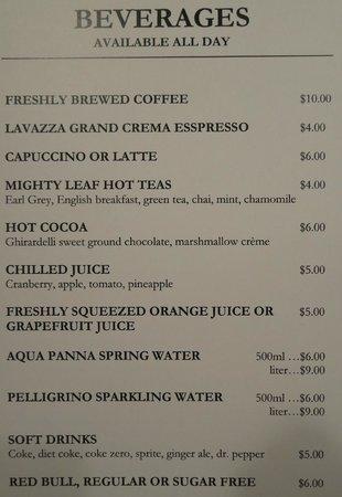 Waldorf Astoria Park City : Room service prices
