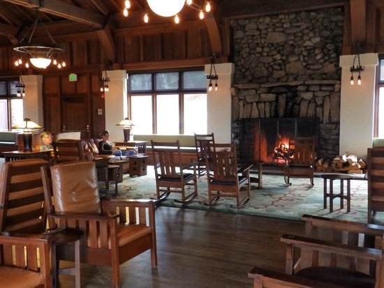 Asilomar Conference Grounds: rec room fireplace seating