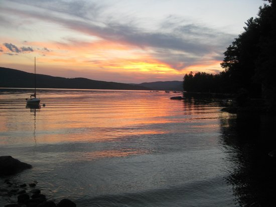 Bristol, NH: Sunset from Inn on Newfound Lake