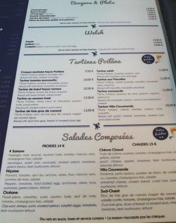 La Villa Gourmande : Le menu