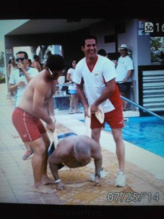 Hotel Riu Palace Costa Rica: Crazy games pool side.