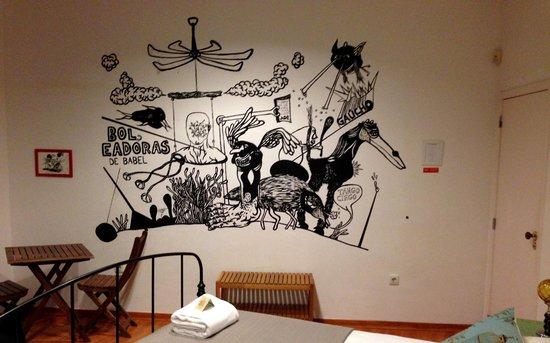 Lisbon Poets Hostel: Artwork in the Borges room