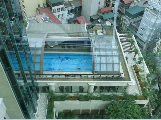 Pan Pacific Hanoi: View from room.  Nice pool, with a quick retractable roof if it rains.