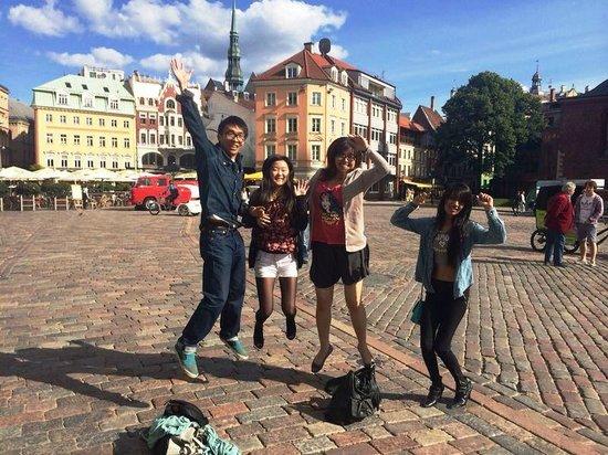 Old City Riga (Vecriga): Happy 'fail jump' at Old Town