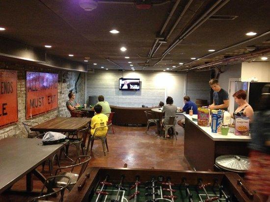 Holiday Jones: communal kitchen/dining/lounge area