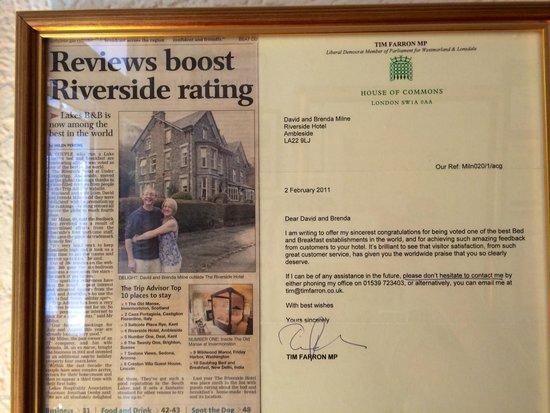 Riverside B&B: A wonderful article about Riverside Hotel