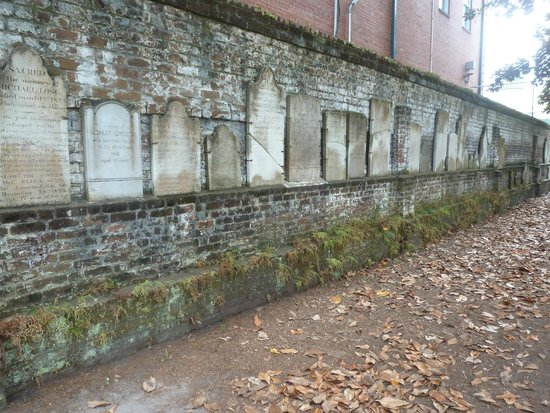Wall of displaced headstones, Colonial Park Cemetery, Savannah
