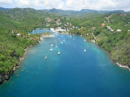Sandals Regency La Toc : Marigot Bay from the helicopter