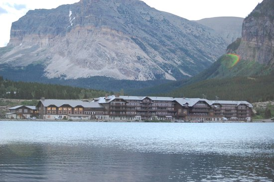 Many Glacier Hotel: view of hotel from the lake