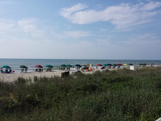Holiday Inn Oceanfront at Surfside Beach : view of the beach outside the hotel