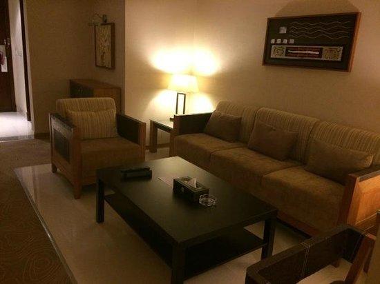 "Golden Tulip Al Jubail : Living Room.  Notice the ashtray in the ""non-smoking"" room."