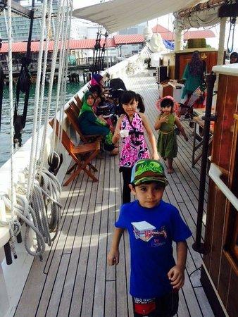 Raja Laut Kota Kinabalu Cruise: The kids aboard Raja Laut. They love the schooner although a couple of them got seasick.