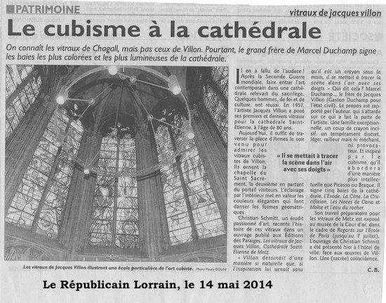 Cathédrale Saint-Étienne : Article du Républicain lorrain du 14 mai 2014 sur la publication du livre sur les vitraux de Vil