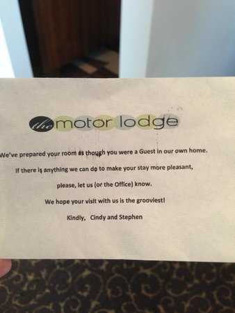 The Motor Lodge: Cute note
