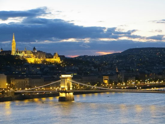 Budapest Marriott Hotel: Sunset in Budapest from the Terrace of the Executive Lounge- 2