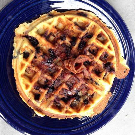 Coast Cafe: Blueberry waffle with bacon inside the batter, amazing!