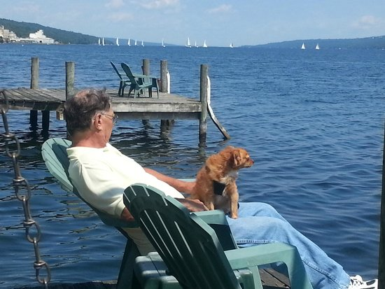 Admiral Peabody's Lakeside Lodging: Watching the Saturday morning sailboat races on Seneca Lake