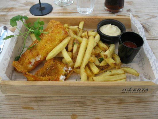 Restaurant Hjerta: Mmm fish and chips.  Although beware - the red stuff is not ketchup.  :)